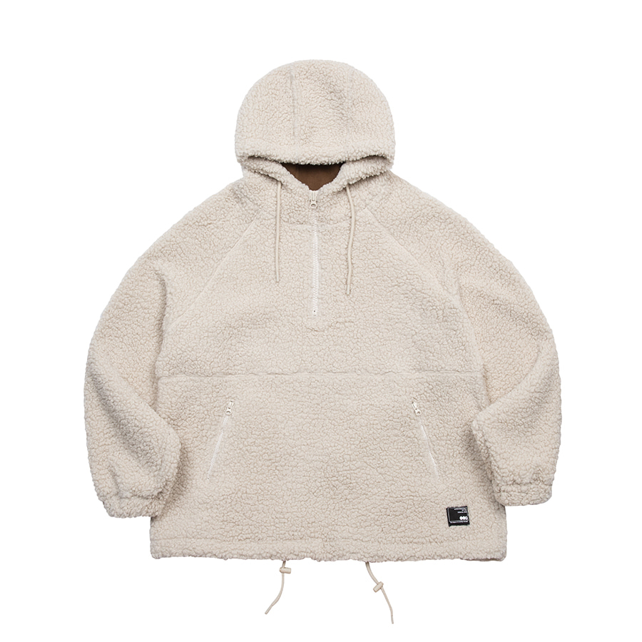 Boa Fleece Over Hoodie Beige
