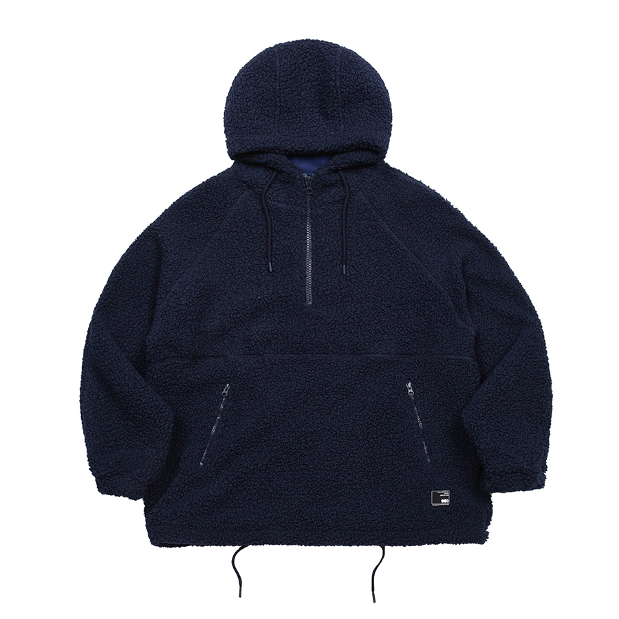 Boa Fleece Over Hoodie Navy