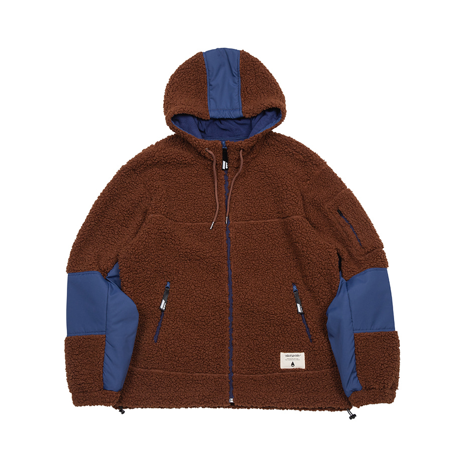 Boa Fleece Hood Zipup Jacket Brown