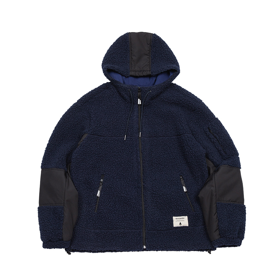 Boa Fleece Hood Zipup Jacket Navy