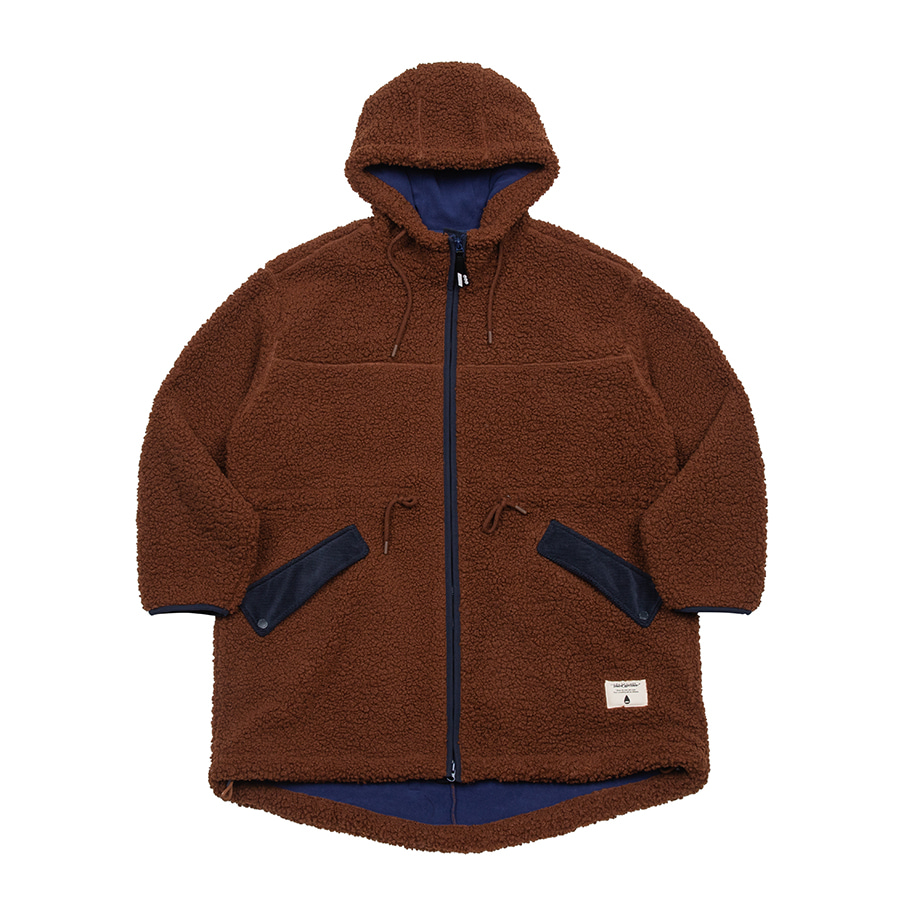 Boa Fleece Fishtail Jacket Brown