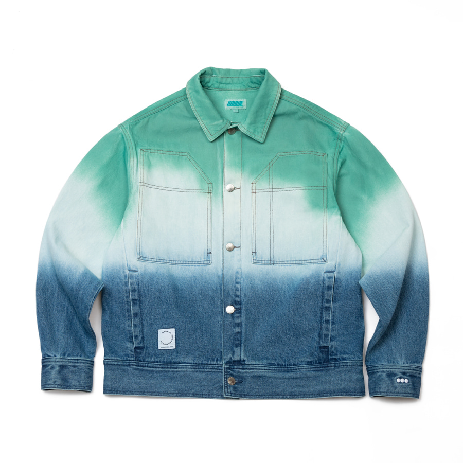 [4/16 예약배송] Tiedye Denim Trucker Green