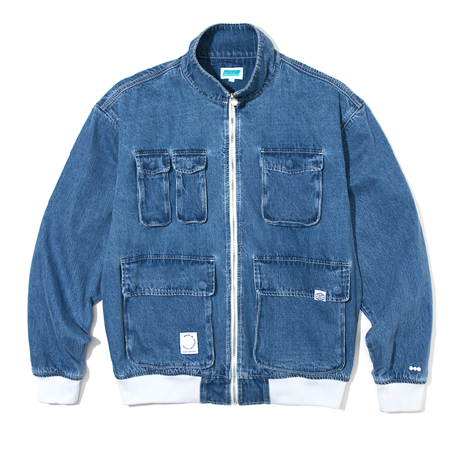 Utility Denim Blouson  Blue