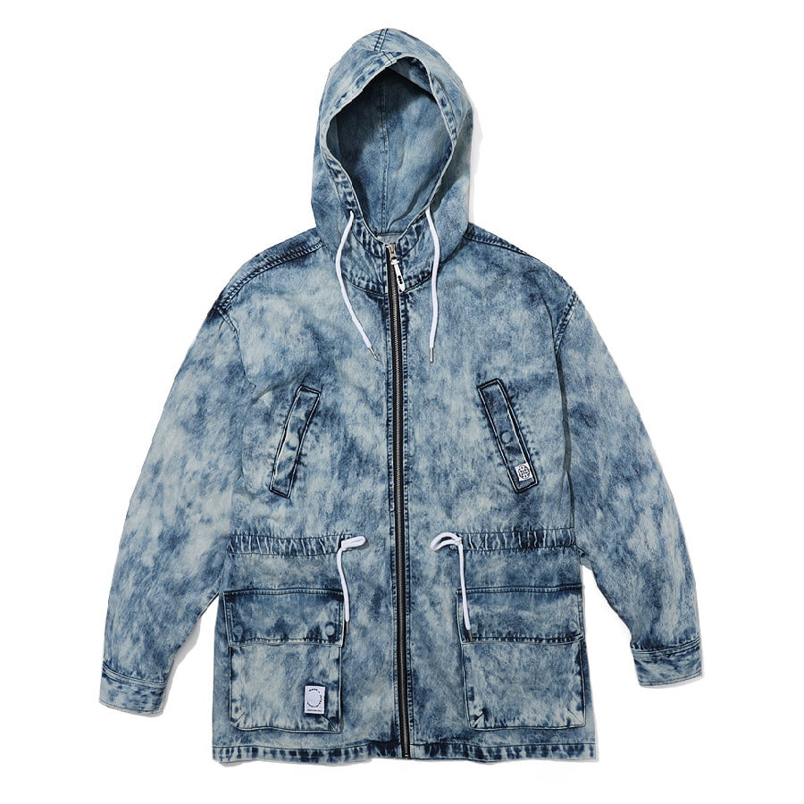 Tiedye Hood Denim Jacket Blue